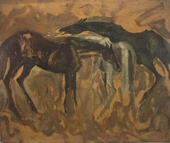 """Early Horses, Oil on Board, Brown, Green, Black by Padma Shree Artist """"In Stock"""""""