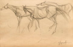 """Early Horses VII, Drawing, Charcoal on Paper, Black by Indian Artist """"In Stock"""""""
