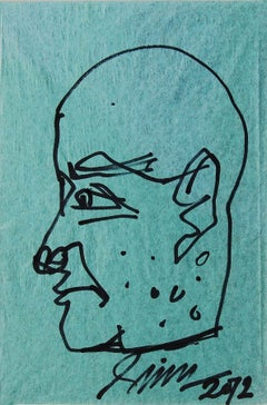 "Face, Pen & Ink on Paper,Green and Black by PadmaShree Artist Sunil Das ""In Stoc"