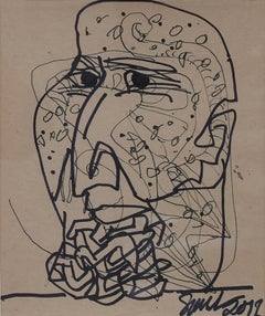 """Face,Ink on Paper Black and Brown by PadmaShree Artist Sunil Das """"In Stock"""""""