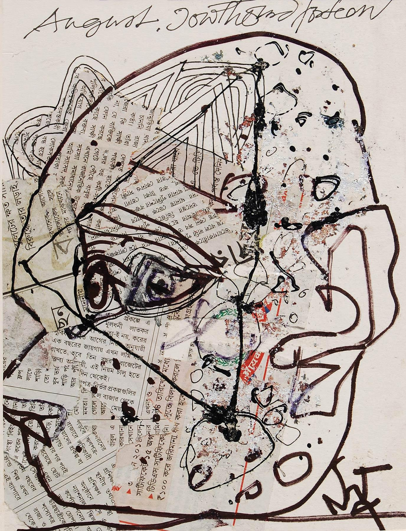 """Head, Acrylic, Newspaper, Pigments, Ink on Board, Black, White  """"In Stock"""""""
