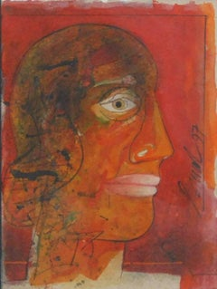 """Head I, Head series of 80's and 90's, Mixed Media, Red, Black, White""""In Stock"""""""