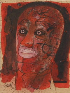 """Head II, Head series of 80's and 90's, Mixed Media, Red, Black, Pink""""In Stock"""""""
