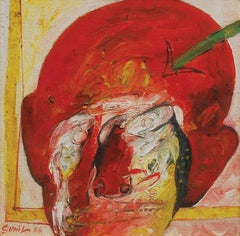 "Head I, Mixed Media on Board, Red, Green, Yellow by Indian Artist ""In Stock"""
