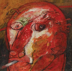 "Head II, Mixed Media on Board, Red, Green, Brown by Indian Artist ""In Stock"""