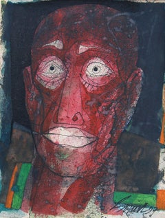 "Head IV, Head series of 80's and 90's, Mixed Media, Red, Black, White ""In Stock"""