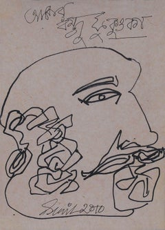 "Head, Japan Series, Ink on Paper, Black & Brown by Modern Artist ""In Stock"""