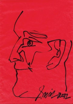 """Head, Pen & Ink on Coloured Paper, Red, Black by Indian Artist """"In Stock"""""""