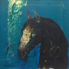 "Horse, Acrylic & Oil on canvas, Blue, Green by Indian Modern Artist ""In Stock"""