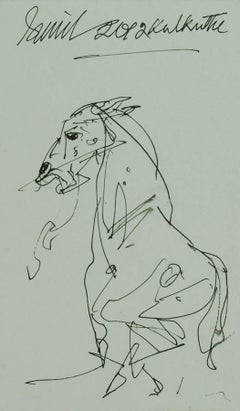 "Horse, Drawing, Ink on Paper, Black, Grey by Indian Artist Sunil Das ""In Stock"""
