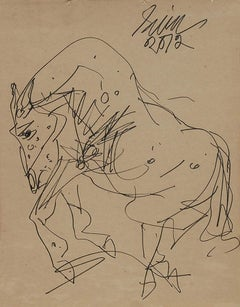"Horse, Drawing, Ink on Paper, Brown, Black by Modern Indian Artist ""In Stock"""