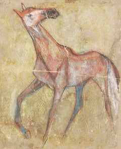 """Horse I, Pastel on Sand Paper, Brown, Red,Green, Blue by Indian Artist""""In Stock"""""""