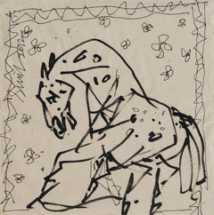 "Horse, Ink on Paper, Black, Grey by Padma Shree Artist Sunil Das ""In Stock"""