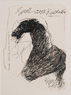 """Horse, Ink on Paper by Indian Modern Artist Sunil Das """"In Stock"""""""