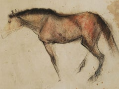 """Horse IV, Coloured Pastel on Paper, Brown, Red, Black by Indian Artist""""In Stock"""""""