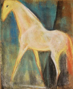 "Horse, Pastel on sand paper, Red, Green, Blue, Yellow by Indian Artist""In Stock"""