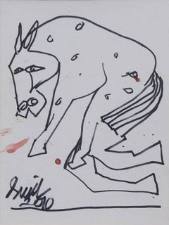 "Horse, Pen & Ink on Paper, Black & White by Modern Indian Artist ""In Stock"""