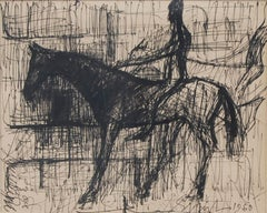 """Horse rider, Ink on paper, Black by Indian Artist Sunil Das """"In Stock"""""""