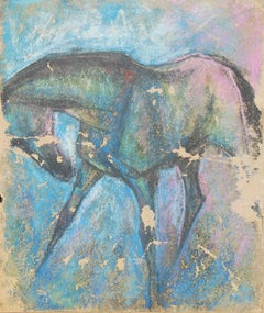 """Horse V,  Pastel on Sand Paper, Pink, Blue, Green, Black by Sunil Das """"In Stock"""""""
