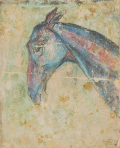"""Horse VI, Pastel on Sand Paper, Red, Green, Blue by Modern Artist """"In Stock"""""""