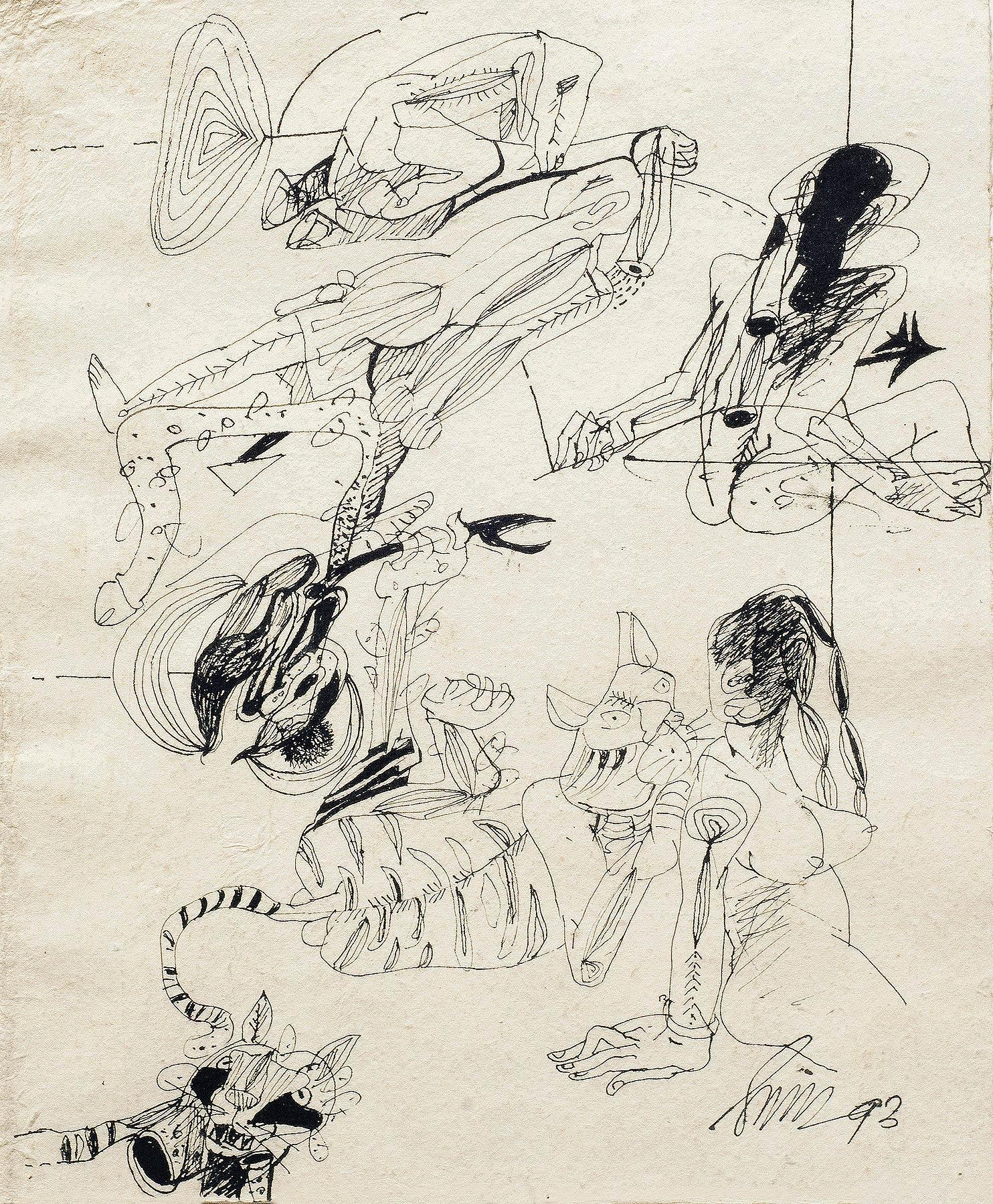 """Ink Drawings on Thick Paper, Black & White by Indian Artist Sunil Das """"In Stock"""""""