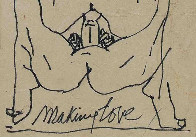 Making Love Series I, Nude Drawing, Pen & Ink Paper Pasted on Board
