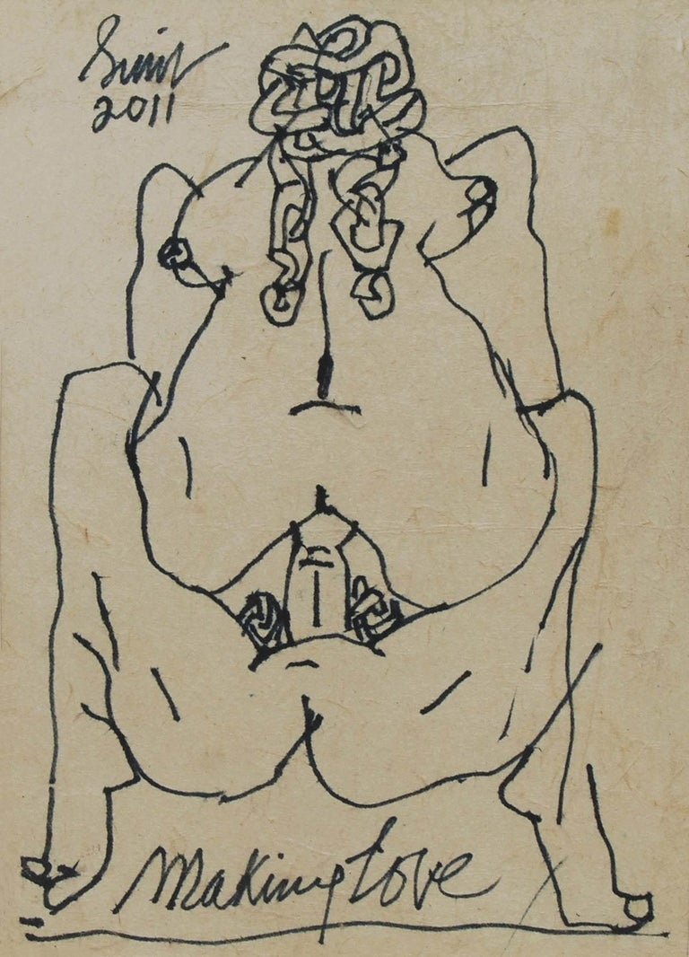 "Sunil Das Nude Painting - Making Love Series I, Nude Drawing, Pen & Ink Paper Pasted on Board ""In Stock"""