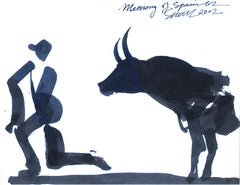"Memory of Spain 62, Bull fighting, Acrylic on Paper, Black, White ""In Stock"""