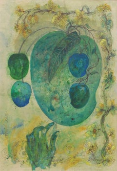 "Mother & Child II, Mixed Media on paper, Green, Blue, Yellow colors ""In Stock"""