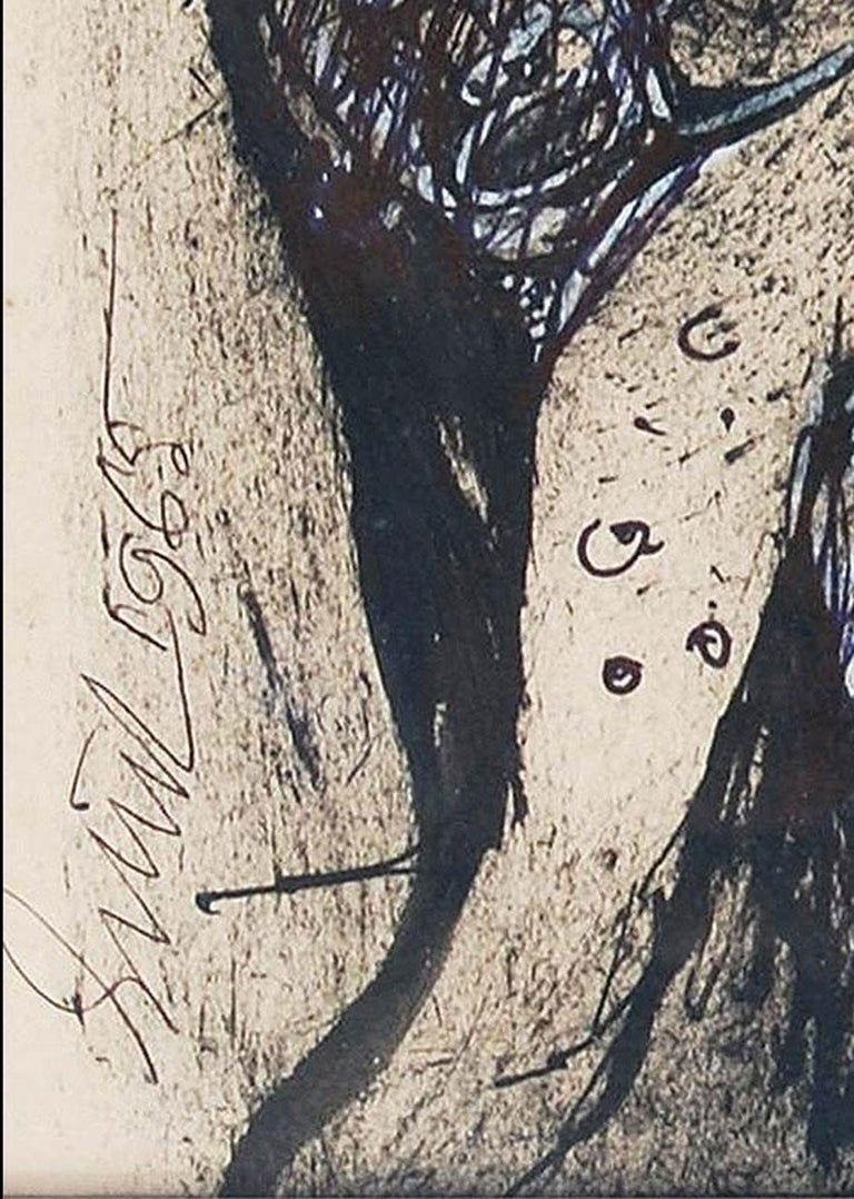 Nude, Ink, Pastel, Charcoal on Paper by Indian Artist Sunil Das