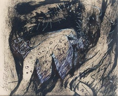 "Nude, Ink, Pastel, Charcoal on Paper by Indian Artist Sunil Das ""In Stock"""