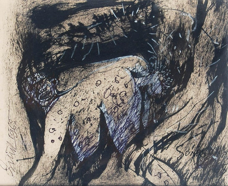 """Nude, Ink, Pastel, Charcoal on Paper by Indian Artist Sunil Das """"In Stock"""" - Black Figurative Art by Sunil Das"""