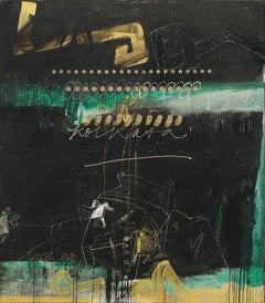 "Abstract Art, Oil, Acrylic, Coins on Canvas, Green, Black, Gold colors""In Stock"""