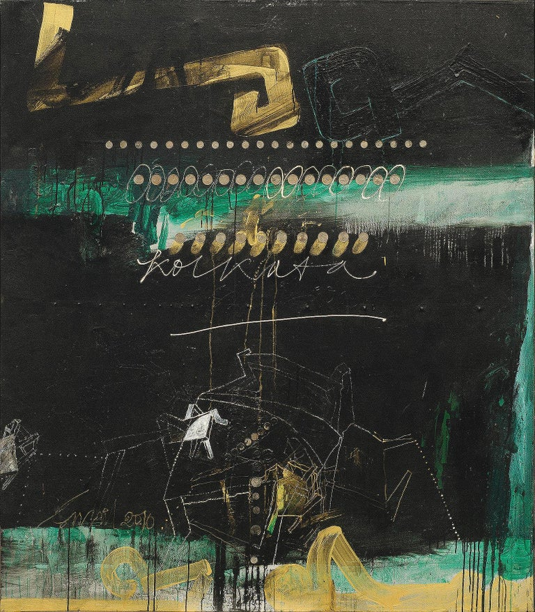 """Sunil Das Abstract Painting - Abstract Art, Oil, Acrylic, Coins on Canvas, Green, Black, Gold colors""""In Stock"""""""