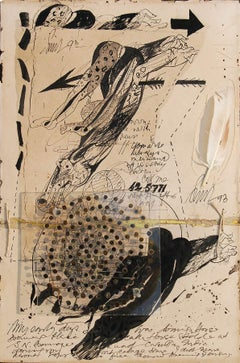"Rare Collage Series,Pen Ink Acrylic Nails Feather by Artist Sunil Das ""In Stock"""