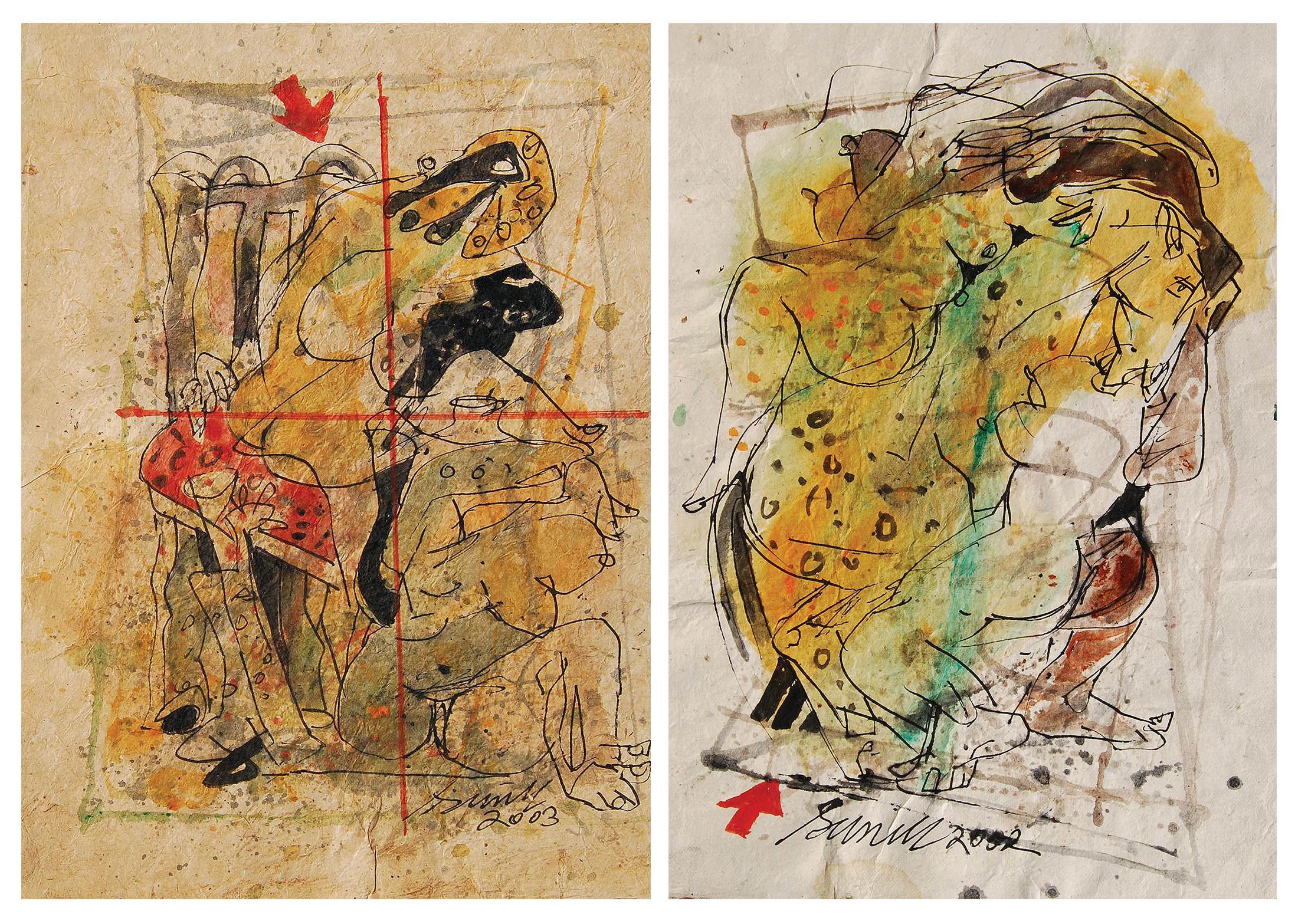 "Set of Erotic Series, Acrylic, Watercolor, Pen, Ink, Paper, Sunil Das ""In Stock"""