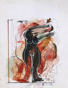 """Woman & Horse, Nude, Mixed Media on Paper, Red, Black, Brown """"In Stock"""""""