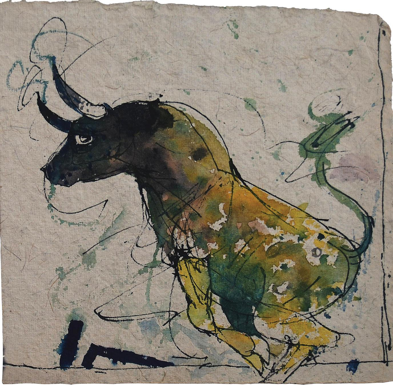 """Bull, Green Yellow Black Colour by Indian Artist Sunil Das """"In Stock"""""""
