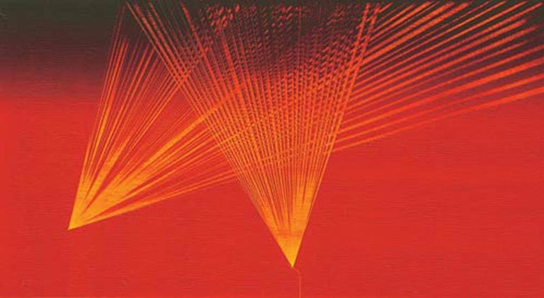 """Sunil Gawde Abstract Painting - Abstract, Suns Rays, Oil on Canvas, Red & Yellow by Indian Artist """"In Stock"""""""