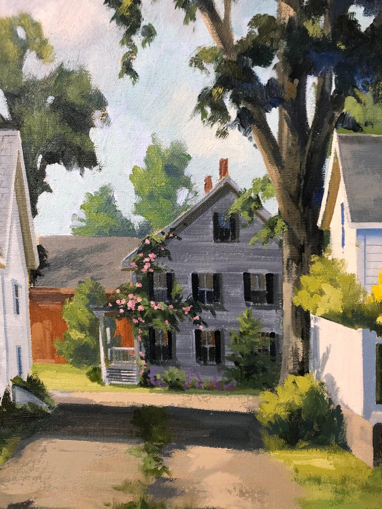 Wonderful sunny afternoon painting by renowned artist Line Tutwiler having a sun dappled lawn and lovely white clapboard house covered with red roses. Looks like a scene in Martha's Vineyard or the like. Beautiful giltwood frame.  Ms. Tutwiler's