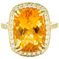 Sunny Citrine Diamond 18 Karat Gold Cocktail Ring
