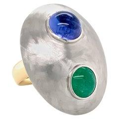 Georg Spreng - Sunny Side Ring Platinum 950 Tourmaline Yellow, Tanzanite blue