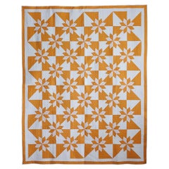 Sunny Yellow Rob Peter to Pay Paul Stars Antique Quilt, 1940s