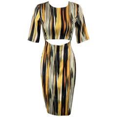 SUNO Size 2 Multi-Color Stretch Silk 3/4 Sleeve Cutout Sheath Dress