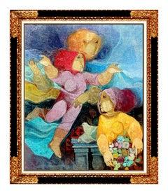 Sunol Alvar Original Oil Painting on Canvas Large Female Figurative Signed Art
