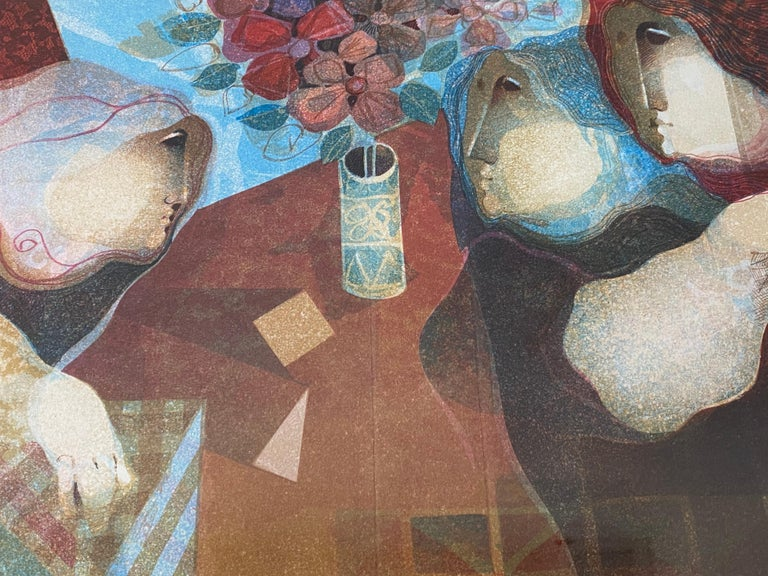 Alvar Sunol Pencil Signed Lithograph C.1970s  Three women around a table  Dimensions 21.5