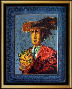 Sunol Alvar Color Lithograph Original Hand Signed Rare Toreador Portrait Artwork