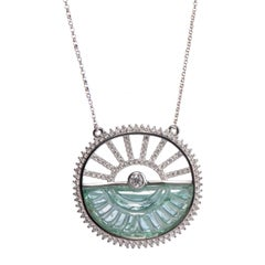 Sunrise Carved Emerald and Diamond Pendant Necklace