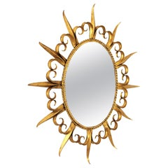 Sunburst Oval Mirror