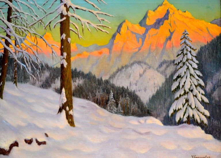 An oil painting on canvas of a wintry alpine landscape at sunset by Russian early 20 Century artist Victor Emanuelov (Russian, 1884–1940). Other than that he painted almost exclusively wintry alpine scenes and that he was represented in London by